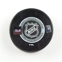 "Glenn Hall Signed Blackhawks Logo Hockey Puck Inscribed ""HOF / 75"" (COJO COA) at PristineAuction.com"