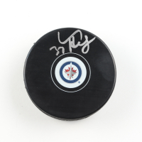 Connor Hellebuyck Signed Jets Logo Hockey Puck (COJO COA) at PristineAuction.com