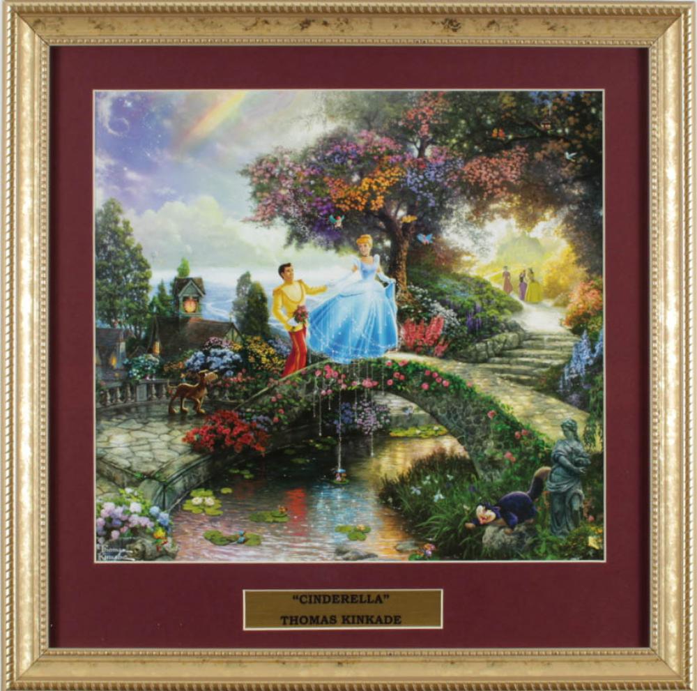 "Thomas Kinkade Walt Disney's ""Cinderella"" 16x16 Custom Framed Print Display at PristineAuction.com"