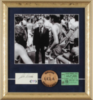 John Wooden Signed UCLA Bruins 13x14 Custom Framed Cut Display with UCLA Pin & Vintage Ticket (PSA COA) at PristineAuction.com