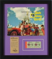 "Vintage ""Disneyland"" 16x18 Custom Framed Guidebook Display with Vintage Parking Pass & Ticket Booklet at PristineAuction.com"