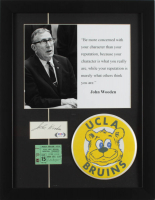 John Wooden Signed UCLA Bruins 14x18 Custom Framed Cut Display with Vintage Wall-Size UCLA Pin & Vintage Original NCAA Tournament Ticket (PSA COA) at PristineAuction.com