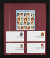 "Vintage ""Disneyland"" 18x21 Custom Framed Uncut Stamp Sheet Display with (4) Disney Envelopes at PristineAuction.com"