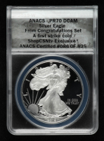 2019-W American Silver Eagle $1 One Dollar Coin - First Strike, From the Congratulations Set, Black Eagle Label (ANACS PR70 Deep Cameo) at PristineAuction.com