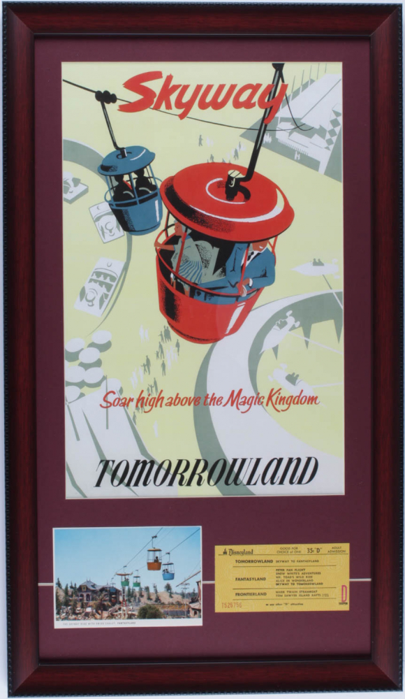 """Disneyland Tomorrowland """"Skyway"""" 15x26 Custom Framed Poster Print Display with Vintage Skyway Postcard & Ride Ticket at PristineAuction.com"""