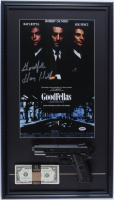 "Henry Hill Signed ""Goodfellas"" 16x28 Custom Framed Print Display Inscribed ""Goodfella"" with Replica Gun & Stack of Prop Money (PSA COA) at PristineAuction.com"