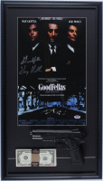 """Henry Hill Signed """"Goodfellas"""" 16x28 Custom Framed Print Display Inscribed """"Goodfella"""" with Replica Gun & Stack of Prop Money (PSA COA) at PristineAuction.com"""