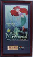 "Disney World ""The Little Mermaid"" 15x26 Custom Framed Print Display with Disney World Ticket Booklet & Ariel ""Undersea"" Ride Lapel Pin at PristineAuction.com"