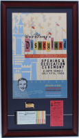 "Disneyland Hotel 15x26 Custom Framed Print Display with Vintage Ticket Booklet, Disneyland ""Welcome"" Bronze Lapel Pin & .25 Parking Pass at PristineAuction.com"