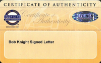 Bob Knight Signed Letter (Steiner COA) at PristineAuction.com