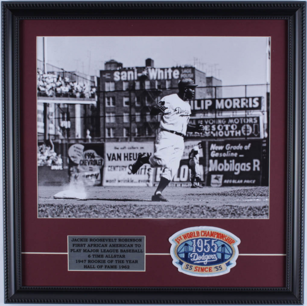 Jackie Robinson Dodgers 18x18 Custom Framed Photo Display with 1955 Brooklyn Dodgers World Champions Cloth Patch at PristineAuction.com