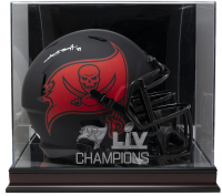 Antonio Brown Signed Buccaneers Full-Size Speed Helmet With High Quality Super Bowl LIV Champions Display Case (JSA COA) at PristineAuction.com