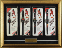 Michael Jordan Bulls 18x23 Custom Framed Watch Display with (4) Individual Factory Sealed Vintage Wilson Style Watches at PristineAuction.com