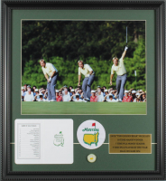 "Jack Nicklaus ""The Masters"" 18x19.5 Custom Framed Photo Display with Masters Patch, Ball Marker & Official Augusta National Score Card at PristineAuction.com"
