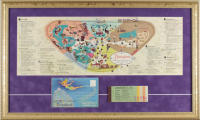1962 Disneyland Map 16x26.5 Custom Framed Print Display with Vintage Ticket Booklet & Souvenir Photo Portfolio at PristineAuction.com