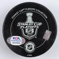 "Mathieu Joseph Signed 2020 Lightning Stanley Cup Champions Logo Hockey Puck Inscribed ""Party in the Bay!"" (PSA COA) at PristineAuction.com"