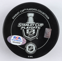 """Mathieu Joseph Signed 2020 Lightning Stanley Cup Champions Logo Hockey Puck Inscribed """"Party In The Bay"""" (PSA COA) at PristineAuction.com"""
