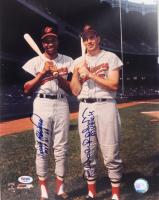 "Brooks Robinson & Frank Robinson Signed Orioles 11x14 Photo Inscribed ""MVP 64"" & ""MVP 61 66"" (PSA COA) at PristineAuction.com"