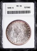 1898 Morgan Silver Dollar (ANACS MS64) (Toned) at PristineAuction.com