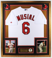 Stan Musial Signed Cardinals 32x36 Custom Framed Jersey Display with Musial Photo Pin (PSA Hologram) at PristineAuction.com
