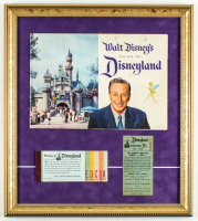 1959 Disneyland Souvenir Guide & Vintage Ticket Book 16x18 Custom Framed Display with .25 Parking Pass at PristineAuction.com