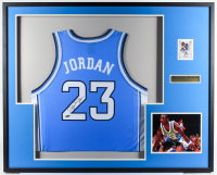 Michael Jordan Signed 33.25x41.25 Custom Framed Jersey Display (UDA Hologram) at PristineAuction.com