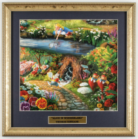 "Thomas Kinkade ""Alice In Wonderland"" 16x16 Custom Framed Print Display at PristineAuction.com"