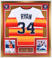 Nolan Ryan Signed 32x36 Custom Framed Jersey Display with Multiple Inscriptions with 1999 Hall Of Fame Pin (PSA COA) at PristineAuction.com
