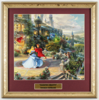 "Thomas Kinkade ""Sleeping Beauty"" 16x16 Custom Framed Print Display With Princess Aurora Pin at PristineAuction.com"