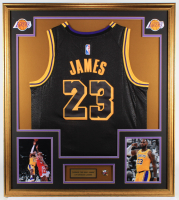 LeBron James 32x36 Custom Framed Jersey with Lakers Championship Pin at PristineAuction.com