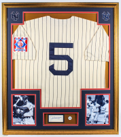 Joe DiMaggio Signed Yankees 32x36 Custom Framed Cut Display with 1939 Rookie Yankees Throwback Home Jersey & Jersey #5 Yankees Retirement Lapel Pin (JSA LOA) at PristineAuction.com