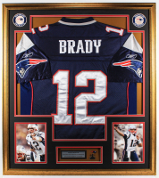 Tom Brady 33x37 Custom Framed Jersey Display With Patriots Super Bowl Champions Pin at PristineAuction.com