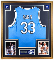 Larry Bird Signed 32x36 Custom Framed Jersey Display with Indiana State Sycamores Patch (PSA COA) at PristineAuction.com