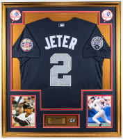 Derek Jeter 32x36 Custom Framed Jersey Display with Hall of Fame Induction Pin at PristineAuction.com
