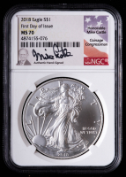 2018 American Silver Eagle $1 One Dollar Coin - Mike Castle Signed Label First Day of Issue (NGC MS70) at PristineAuction.com