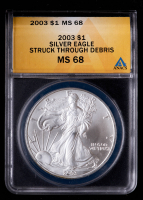 2003 American Silver Eagle $1 One Dollar Coin - Struck Through Debris (ANACS MS68) at PristineAuction.com
