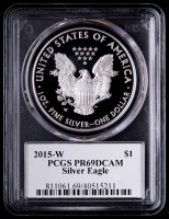 2015-W American Silver Eagle $1 One Dollar Coin - Leonard Buckley Signed Label (PCGS PR69DCAM) at PristineAuction.com