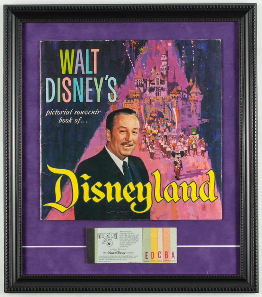 "Vintage ""Disneyland"" 15x17 Custom Framed 1965 Walt Disney ""Guide to Disneyland"" Souvenir Guide Display with Vintage Ticket Booklet at PristineAuction.com"