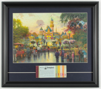 "Thomas Kinkade 50th Anniversary ""Disneyland"" 15x17 Custom Framed Print Display with Vintage Ticket Booklet at PristineAuction.com"