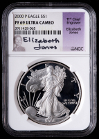 2000-P American Silver Eagle $1 One Dollar Coin - Elizabeth Jones Signed Label (NGC PF69 Ultra Cameo) at PristineAuction.com