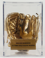"Brooks Robinson Signed Rawlings Gold Mini Baseball Glove Inscribed ""HOF 1983"", ""16 GG"", & ""Mr. Oriole"" with Display Case (PSA COA) at PristineAuction.com"