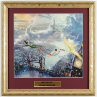 "Thomas Kinkade Walt Disney's ""Peter Pan"" 16x16 Custom Framed Print Display at PristineAuction.com"