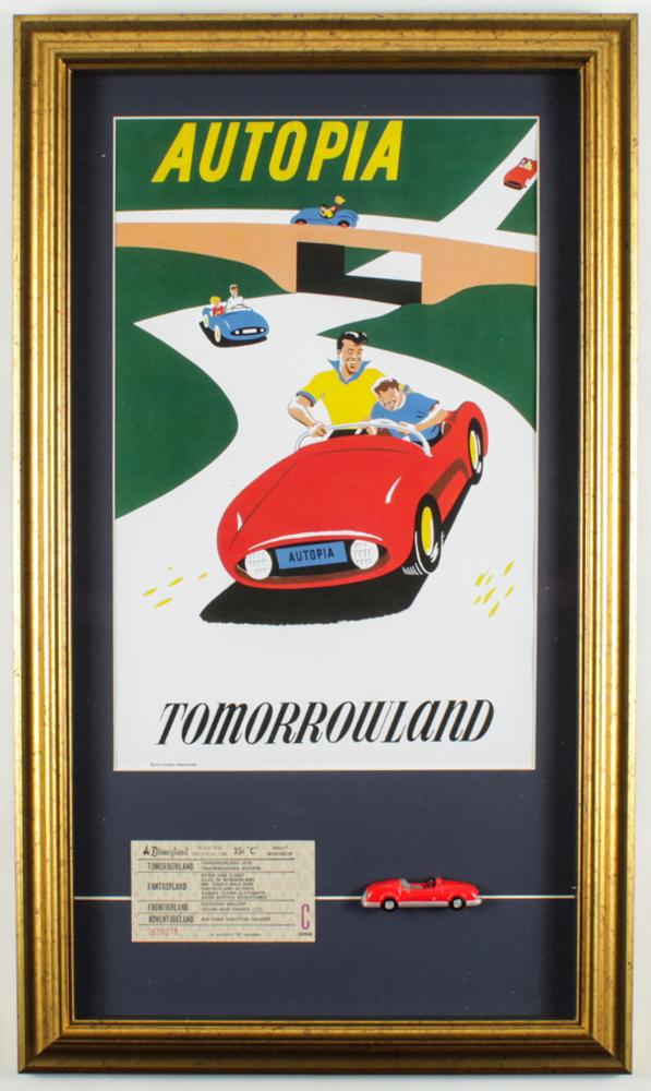 "Disneyland Tomorrowland's ""Autopia"" 16x26.5 Custom Framed Print Display with Vintage 1960's Autopia Ticket & Vintage Autopia Toy Car at PristineAuction.com"