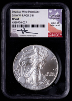 2016(W) American Silver Eagle $1 One Dollar Coin - John M. Mercanti Signed Struck At West Point Mint (NGC MS69) at PristineAuction.com