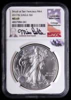 "2017(S) American Silver Eagle $1 One Dollar Coin - Mike Castle Signed ""Struck At San Francisco Mint"" (NGC MS69) at PristineAuction.com"