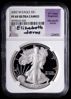 2002-W American Silver Eagle $1 One Dollar Coin - Eizabeth Jones Signed Label (NGC PF69 Ultra Cameo) at PristineAuction.com