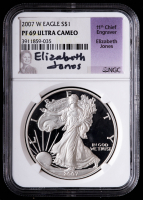 2007-W American Silver Eagle $1 One Dollar Coin - Eizabeth Jones Signed Label (NGC PF69 Ultra Cameo) at PristineAuction.com