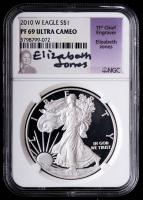 2010-W American Silver Eagle $1 One Dollar Coin - Elizabeth Jones Signed Label (NGC PF69 Ultra Cameo) at PristineAuction.com