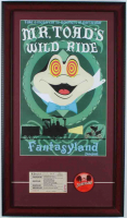 "Disneyland ""Mr. Toad's Wild Ride"" 15x26 Custom Framed Print Display with Vintage 1960's Mr. Toad ""C"" Ride Ticket & Vintage 1960's Vari-Vue ""I Like Disneyland"" Lapel Pin at PristineAuction.com"