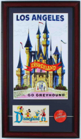 "Disneyland Greyhound 15x26 Custom Framed Advertisement Display with Vintage Souvenir Decal & Vintage 1960's Vari-Vue ""I Like Disneyland"" Lapel Pin at PristineAuction.com"